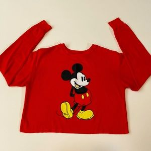 Disney Mickey Mouse Long Sleeve Cropped Thermal